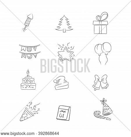 Collection Of Hand Drawn Icons From New Year's Celebrations. Perfect For Design Elements From Welcom