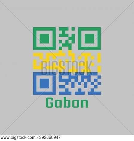 Qr Code Set The Color Of Gabon Flag. A Horizontal Triband Of Green, Gold And Blue. With Name Text Ga