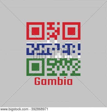 Qr Code Set The Color Of Gambia Flag. A Horizontal Tricolor Of Red, Blue And Green; Each Band Of Col