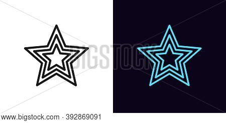 Outline Star Icon. Linear Superstar Sign With Editable Stroke, Award. Glamour Celebrity, Starry Shap