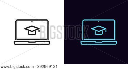 Outline Online Education Icon. Linear Webinar Sign With Editable Stroke, Digital Study On Laptop. Vi
