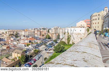 Cagliari, Sardinia Island, Italy - December 12, 2019: Panoramic View From The Old Town Of Cagliari,