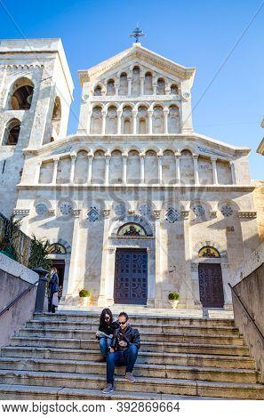 Cagliari, Sardinia Island, Italy - December 12, 2019: Neo Gothic Facade Of Cagliari Cathedral Of Sai