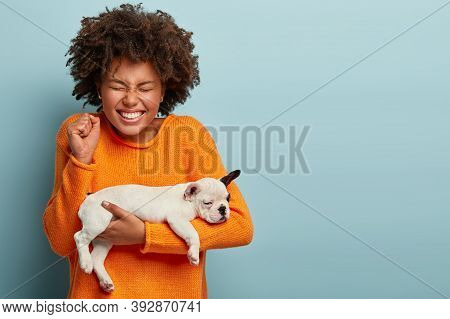 Overjoyed Afro Female Clenches Fist From Joy, Glad To Buy Desirable Pedigree Breed Dog, Poses With F