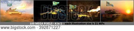 4 Illustrations Of High Detail Tank With Fictional Design And With Kazakhstan Flag - Kazakhstan Army