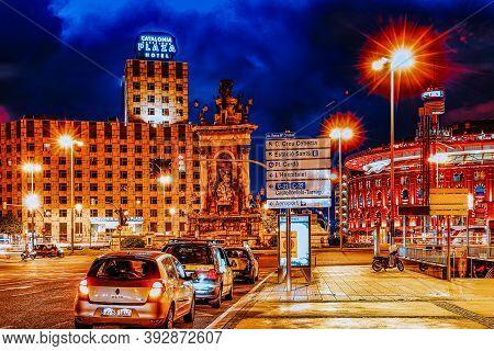 Barcelona, Spain  - Sept 02, 2014: Las Arenas On Placa D'espanya Is A Former Bullring Converted Into