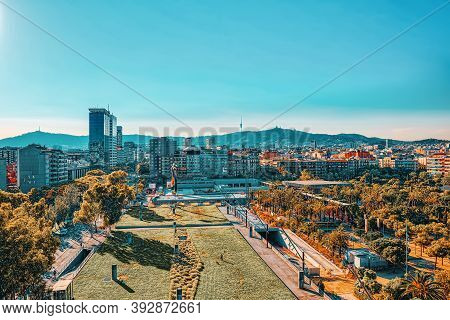 Panorama On The Urban Center Of Barcelona, The Capital Of The Au