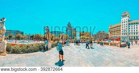 Central Famous Square Of Barcelona - Placa De Catalunia. The Mos