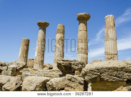 Dorian Columns Of Temple Of Heracles In Agrigento, Sicily, Italy