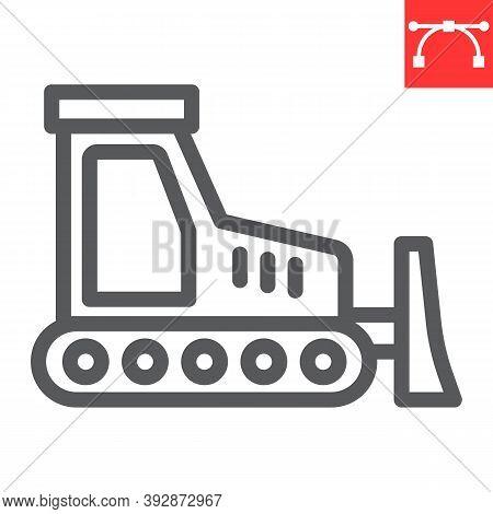 Bulldozer Line Icon, Construction And Vehicle, Bulldozer Sign Vector Graphics, Editable Stroke Linea