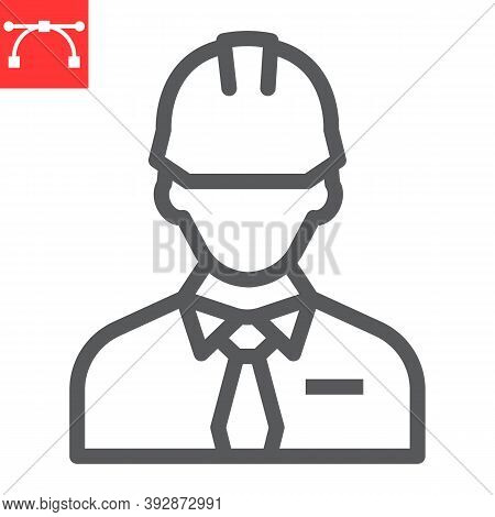 Builder Line Icon, Construction Worker And Repairman, Engineer Sign Vector Graphics, Editable Stroke