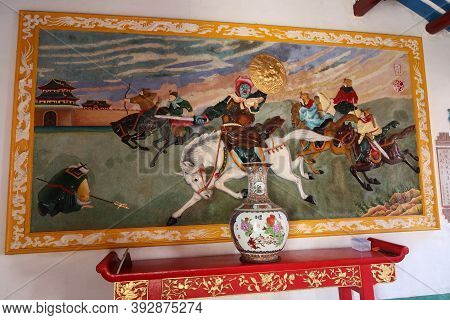 Hoi An, Vietnam, October 29, 2020: One Of The Colorful Murals In The Assembly Hall Of Fujian Chinese