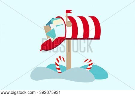 Cute Vector Illustration Of Santa's Mailbox And Snow. Winter Theme. Letter For Santa Claus Merry Chr