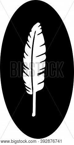 Feather Icon Isolated On Background , Shape, Sign, Silhouette
