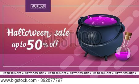 Halloween Sale, Up To 50 Off, Modern Horizontal Pink Discount Banner With Witchs Pot With Potion