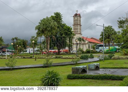 La Fortuna, Costa Rica-march 18, 2017: The Catholic Church Of San Juan Bosco In La Fortuna, Costa Ri