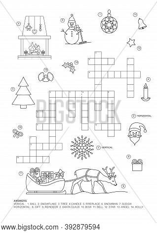 Crossword Puzzle. This Christmas Theme Crossword Puzzle Game Is For Kids. English Language.
