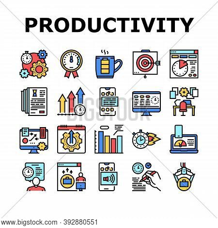 Productivity Manage Collection Icons Set Vector. Energy Drink And Motivation, Working Hours And Grow