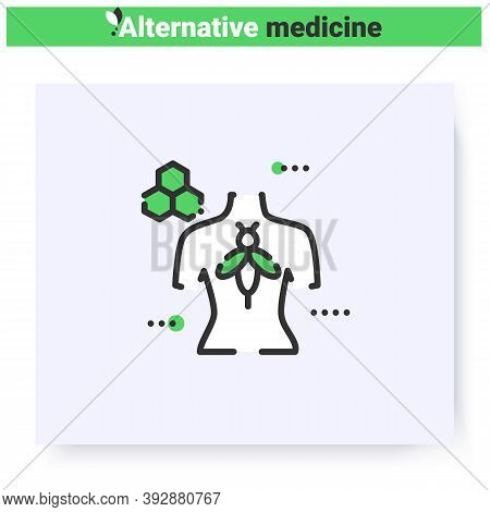 Apitherapy Line Icon.treatment With Beekeeping Products.holistic, Natural Medicine.health Care And W