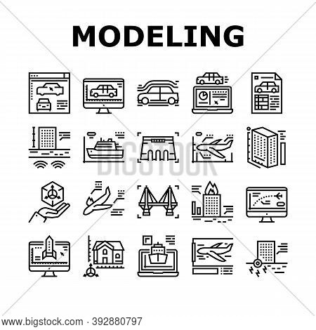 Modeling Engineering Collection Icons Set Vector. Ship And Airplane, Bridge And Dam, Building And Ho