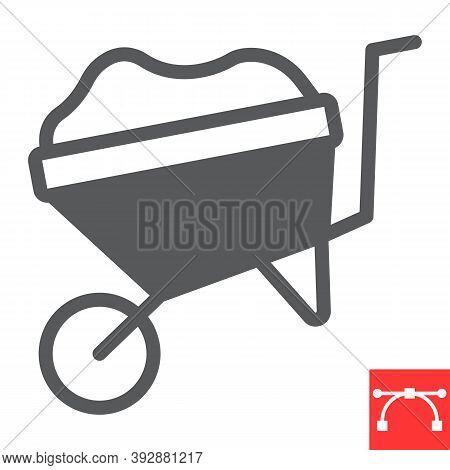 Wheelbarrow Glyph Icon, Construction And Agriculture, Wheel Barrow Sign Vector Graphics, Editable St