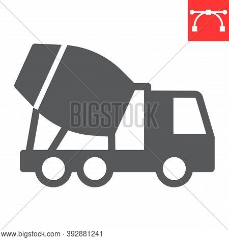 Concrete Mixer Glyph Icon, Construction And Vehicle, Cement Mixer Truck Sign Vector Graphics, Editab