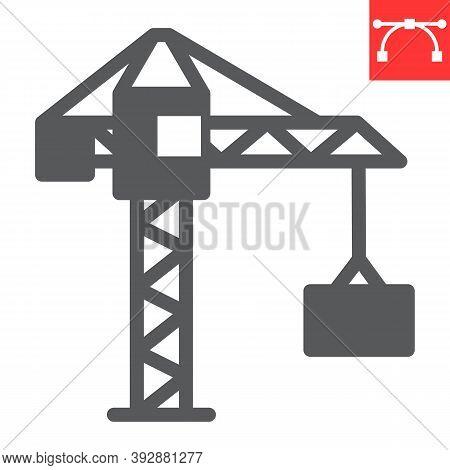 Construction Crane Glyph Icon, Construction And Industry, Building Crane Sign Vector Graphics, Edita