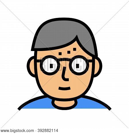 Geek Human Color Icon Vector. Geek Human Sign. Isolated Symbol Illustration