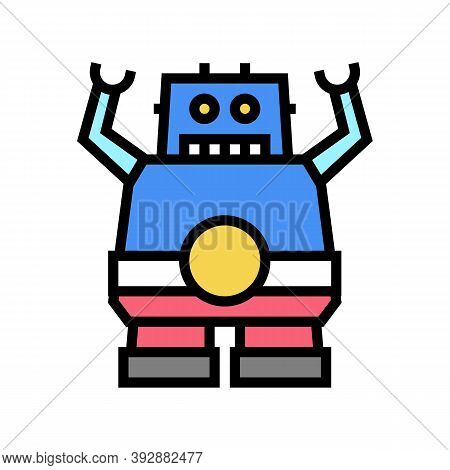Robotic Geek Color Icon Vector. Robotic Geek Sign. Isolated Symbol Illustration
