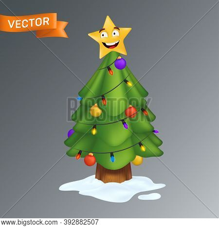 Christmas Tree Decorated With A Smiling Yellow Star, Colorful Light Bulbs On A Garland And Decoratio