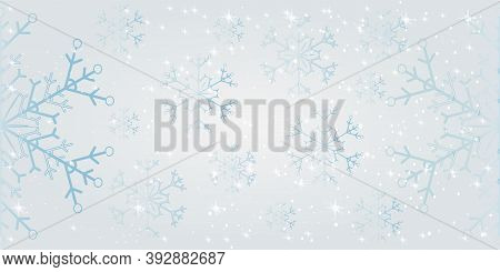 Christmas Silver Glitter Snowflakes Seamless Pattern. Christmas Background With Snowflakes And Place