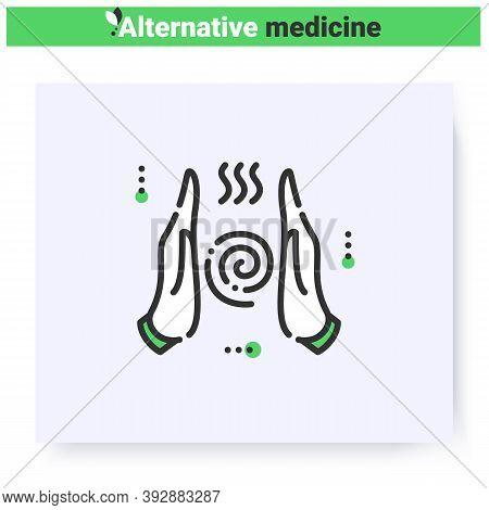 Reiki Line Icon. External Energy. Taoist Oriental Energy Healing. Health Care And Wellness. Compleme