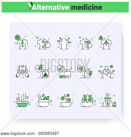 Alternative Medicine Line Icons Set. Naturopathy, Chiropractic, Reiki And More. Health Care And Well