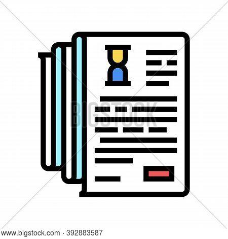 Documentation Lists Heap Color Icon Vector. Documentation Lists Heap Sign. Isolated Symbol Illustrat