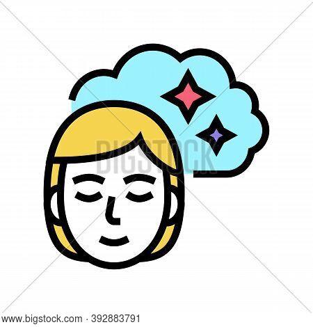 Woman Nostalgia Color Icon Vector. Woman Nostalgia Sign. Isolated Symbol Illustration