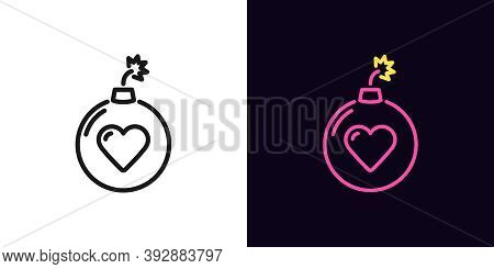 Outline Bomb Icon With Editable Stroke. Linear Bomb Sign With Heart, Love Explosion. Hit Parade, Top