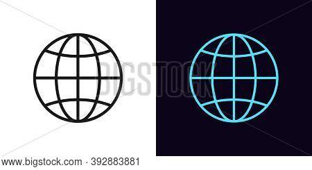 Outline Globe Icon. Linear World Sign With Editable Stroke, Globe Internet. Digital Earth, Internati