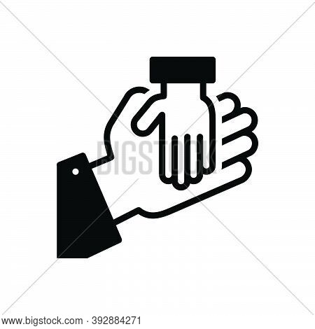 Black Solid Icon For Rely Believe Trust-to Confide Charity Care Orphan Adoption Hand