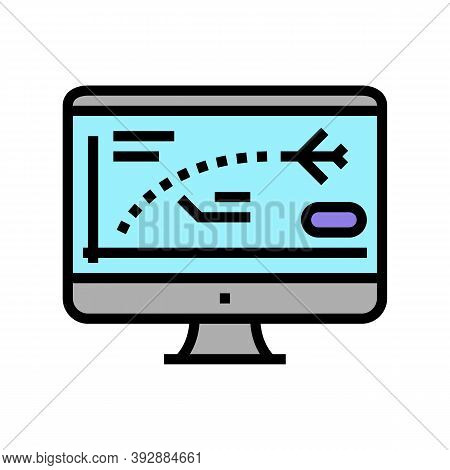 Flight Path Computer Simulator Color Icon Vector. Flight Path Computer Simulator Sign. Isolated Symb
