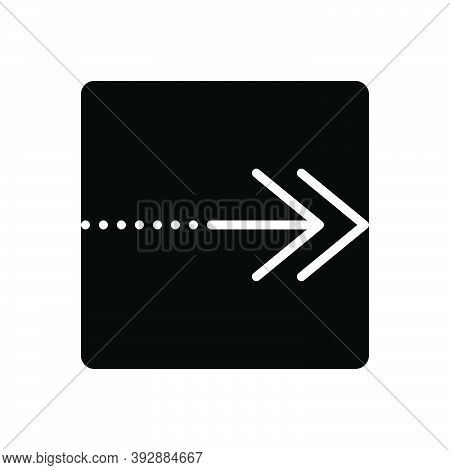 Black Solid Icon For Continue Arrow Next Forward Point Proceed Indicator