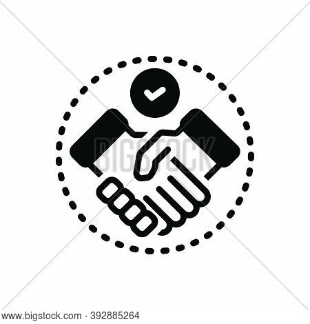 Black Solid Icon For Settlement Agreement Deal Handshake Cooperation Business Collaboration Deal