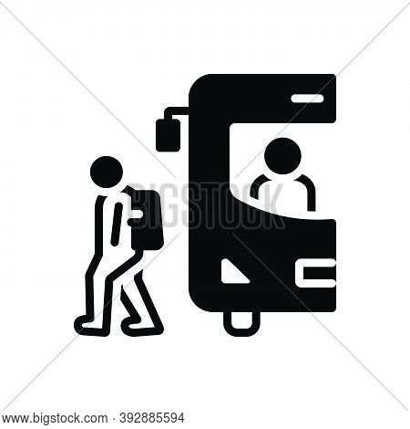 Black Solid Icon For Student-drop-from-school-bus Student Drop School Bus Back-to-home Walk Transpor