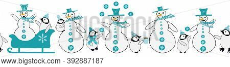 Snowman And Baby Penguin Seamless Vector Border. Fun Blue White Banner With Smiling, Laughing Snowme