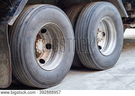 Close-up Of The Truck Wheel. Road Freight Transport And Logistics. Truck Transportation.