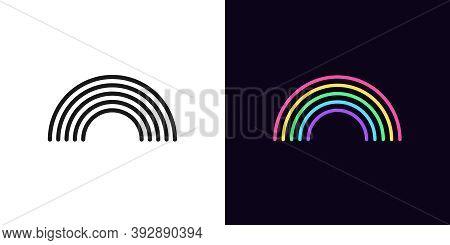 Outline Rainbow Icon With Editable Stroke. Linear Arch Sign, Black Rainbow. Bright Rainbow Arc Silho