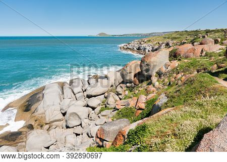 Granite Boulders On Granite Island With Blue Sea, Off Victor Harbor, South Australia