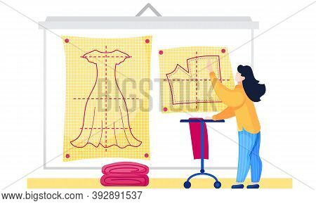 Girl Studying The Plan For Clothes. Fashion Designers Making A Pattern On Yellow Paper. Future Cloth
