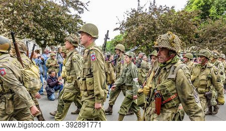 Sainte Mere L'eglise, France - June 6, 2019. Victory Day Second World War In Normandy Was Celebrated
