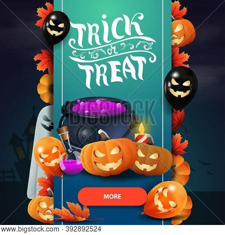 Trick Or Treat, Modern Square Greeting Postcard With Witchs Cauldron And Pumpkin Jack. Greeting Post