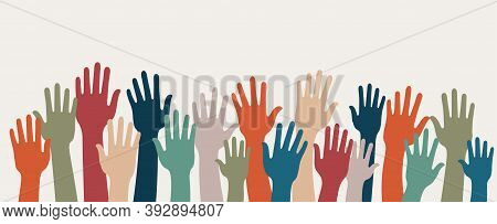 Group Of Raised Human Arms And Hands. Concept Of Charity Volunteer Donation Or Assistance. Cooperati